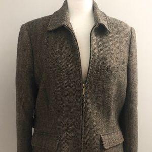 LAUREN RALPH LAUREN Zip Up Wool Blazer Jacket